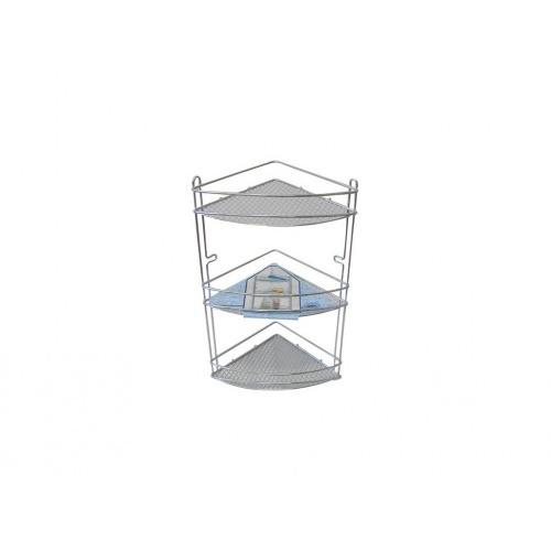 polička rohová (mřížky) 3 patra 20,5x20,5x44cm Cr  2966