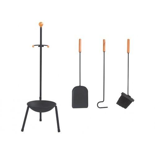 nářadí krb.v.67cm, ČER ocel/dřevo, sada 3díl. se stojánkem