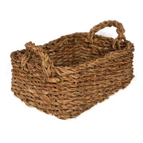 košík hranatý s úchyty malý 28x20x11cm mořská tráva