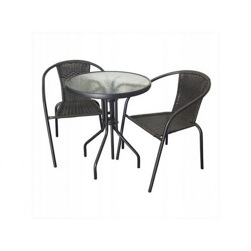set zahradní ratan PH/kov/sklo stůl + 2 židle BÉŽ/ ČER