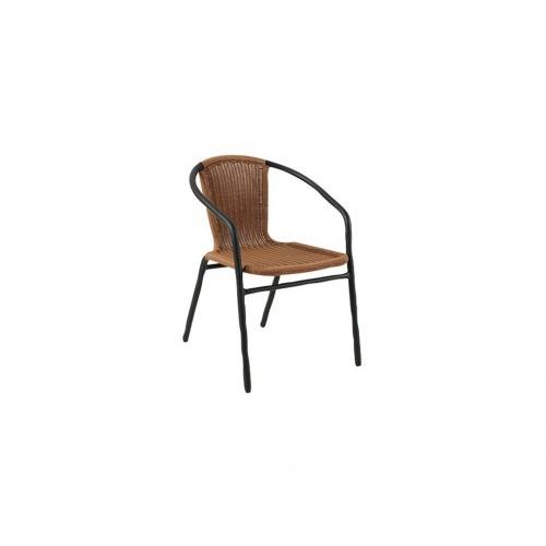 židle zahradní 55x55x73cm ratan PH/kov BÉŽ + ČER
