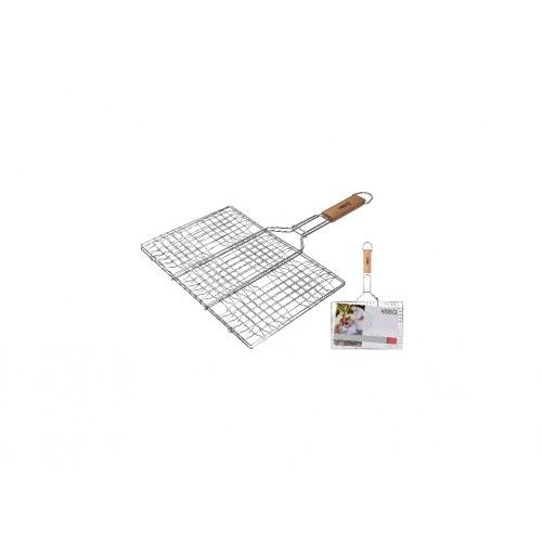 mřížka opékací hranatá 34x23cm, délka 48cm, BBQ dřev.rukojeť