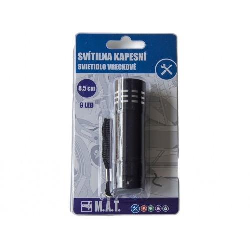 svítilna kapesní  8,5cm 9LED Al ČER