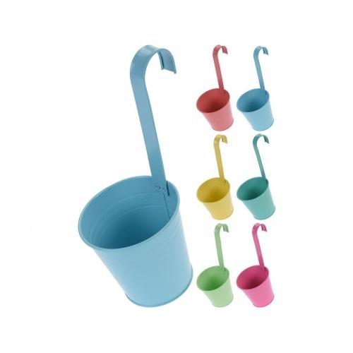 květináč dekorační 13,5cm závěsný plech mix barev