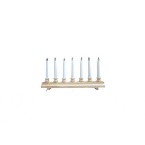 svícen vánoční  7 svíček LED,teplá BÍ,dřev.přír.42,5x21,5x5cm,2xtuž.AA baterie