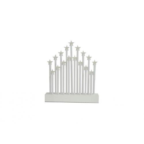 svícen vánoční el.17 svíček LED,teplá BÍ,hvězda,dřev.BÍ,27,7x26x4cm,do zásuvky