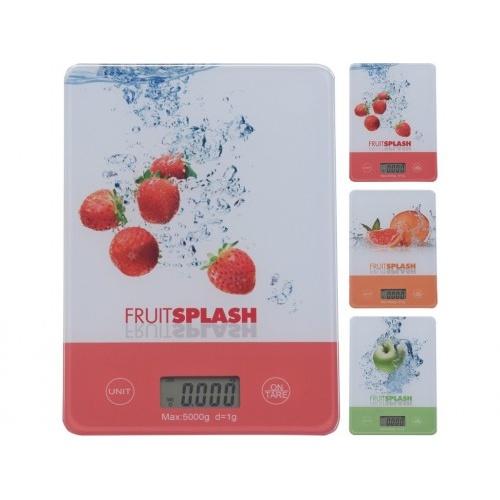 váha kuchyňská plochá 5kg digitální, tvrz.sklo FRUIT mix dekorů