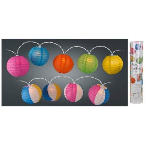 osvětlení LAMPIONY pr.10cm 10LED řetěz, papír mix barev