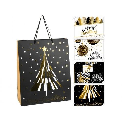 taška dárková 32x26x10cm (L) VÁNOČNÍ mix dekorů