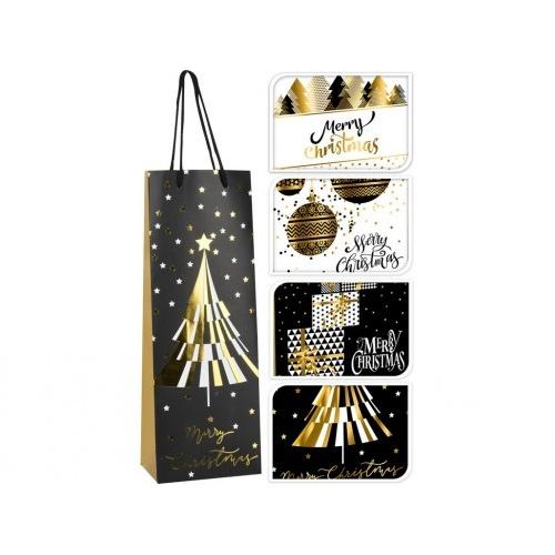 taška dárková na láhev 36x12,8x8,4cm VÁNOČNÍ mix dekorů