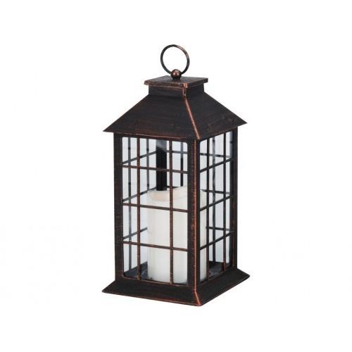 lucerna LED svíčka 28x14x14cm sklo/MĚĎ ČER