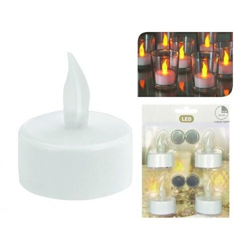 svíčka čajová LED pr.3,5cm BÍ (4ks) s bateriemi, časovačem