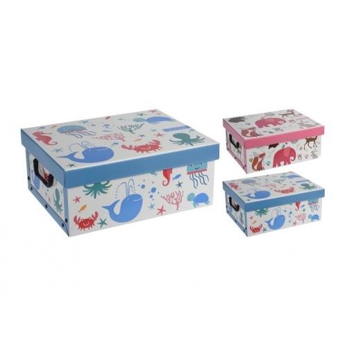 box úložný 37x30x16cm s víkem, dětský, karton mix dekorů