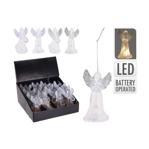 dekorace LED ANDĚL 11,5x6,5x6,5cm závěs mix