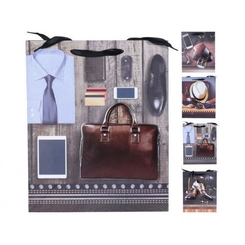 taška dárková 3D 32x26x10cm (L) 3D PÁNI mix dekorů
