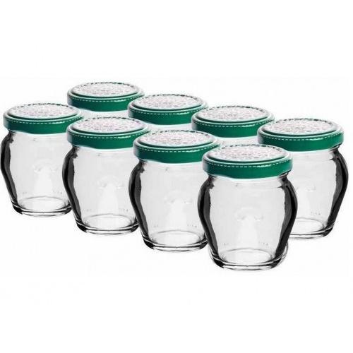 sklenice zavařovací 106ml + víčka barev. 53 (8ks)