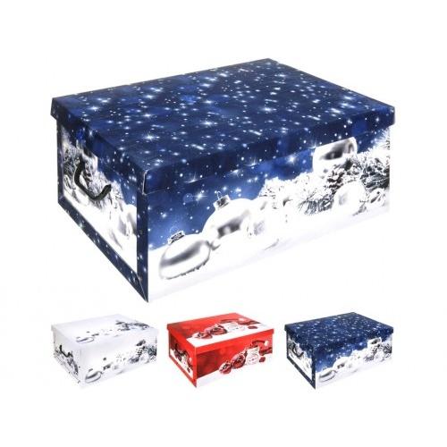 box úložný 51x37x24cm s víkem, vánoční, karton mix dekorů