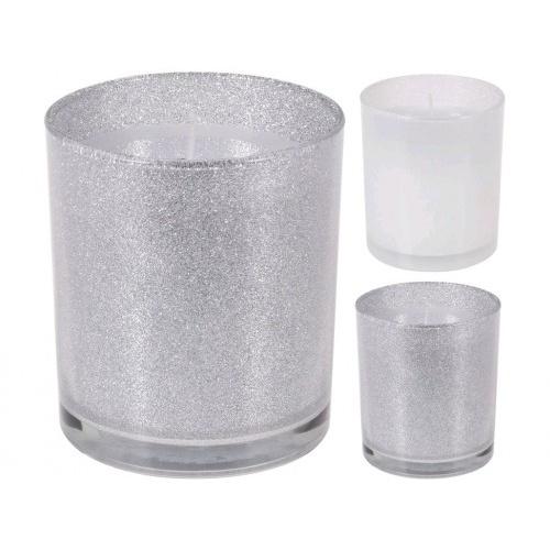 svíčka sklo pr.8,5x10cm třpytky, BÍ,STŘ mix