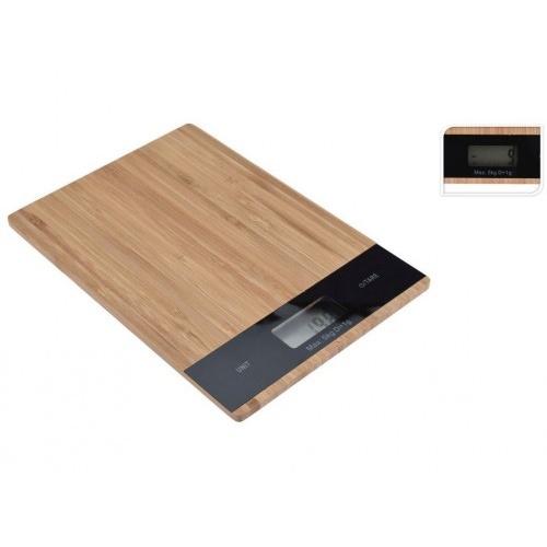 váha kuchyňská plochá 5kg digitální, bambus