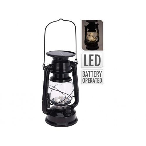 lampa solární PETROLEJKA pr.11,5x24cm, 15LED kov.ČER