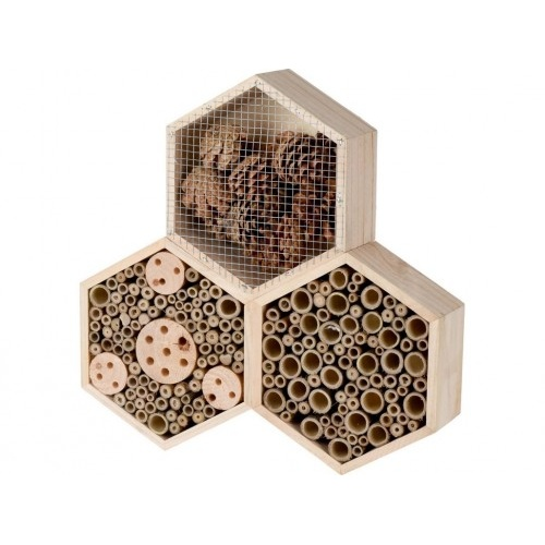hotel hmyzí 35x35x7,5cm HEXAGON dřevěný