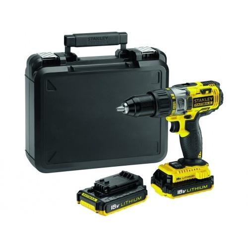 vrtačka Aku 18V Li-lon, příklep, kufr, 2 baterie, FMC625D2-QW, STANLEY