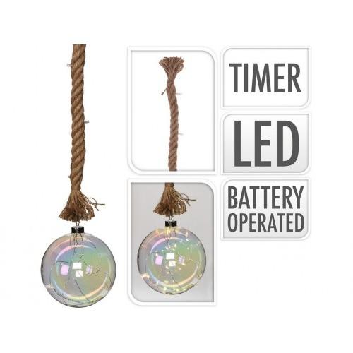 osvětlení KOULE LED pr.15cm skl.PERL.,na laně 95cm s časovačem
