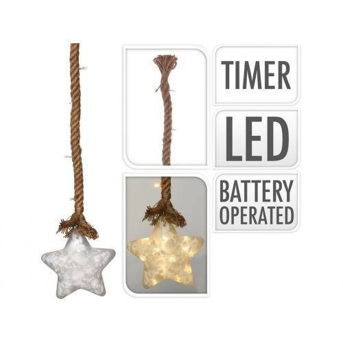 osvětlení HVĚZDA LED 15cm skl.BÍ,na laně 95cm s časovačem