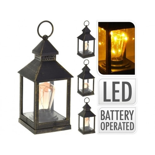 lucerna LED 23x10x10cm sklo/PH ČER s časovačem mix