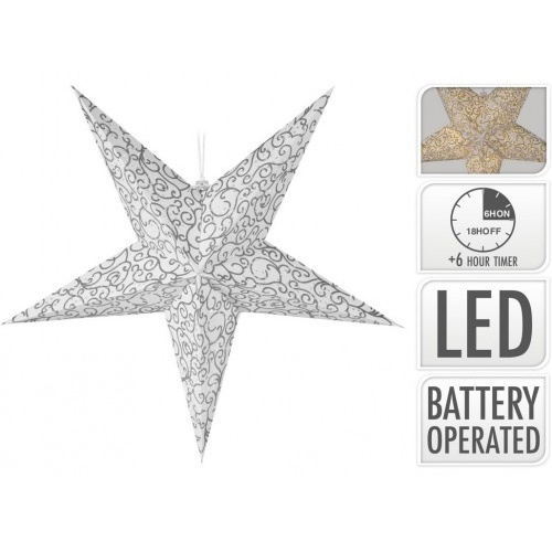 osvětlení HVĚZDA 60cm skládací, papír s folií mix, 10LED, s časovačem