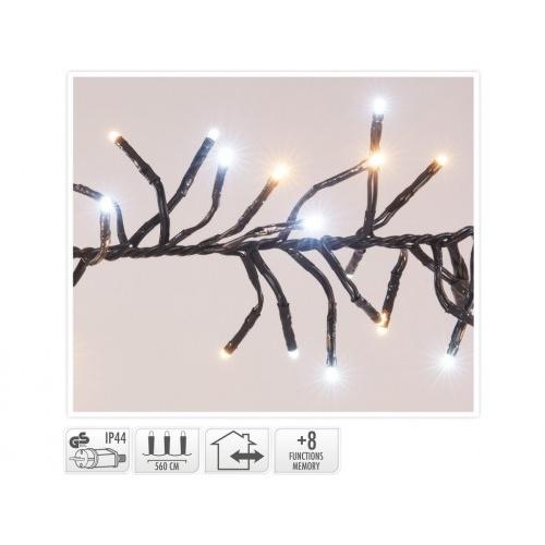 osvětlení vánoční 5,6m 768LED studená+teplá BÍ, 8 funkcí, ČER