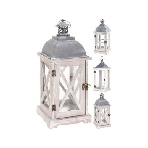 lucerna na svíčku 41x16cm sklo+kov+dřevo BÍ/ŠE mix