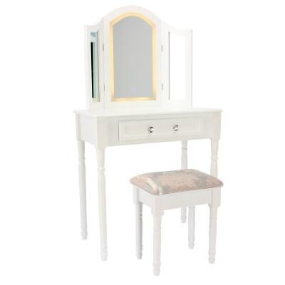 ALDOTRADE Kosmetický stolek LED Milena 138x78x40 s taburetem