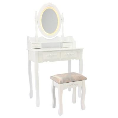 ALDOTRADE Kosmetický stolek LED Emilie 141x75x40cm s taburetem