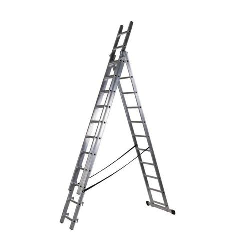 ALDO Hliníkový žebřík 3x13 příček PROFI třídílný