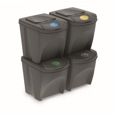 Sada 4 odpadkových košů Sortibox