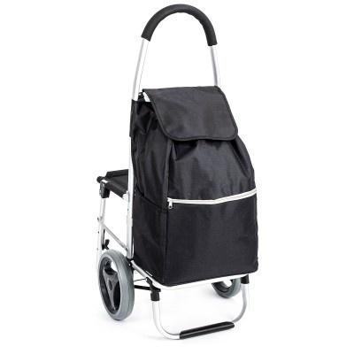 ALDOTRADE Nákupní taška na kolečkách se sedátkem Comfort - černá