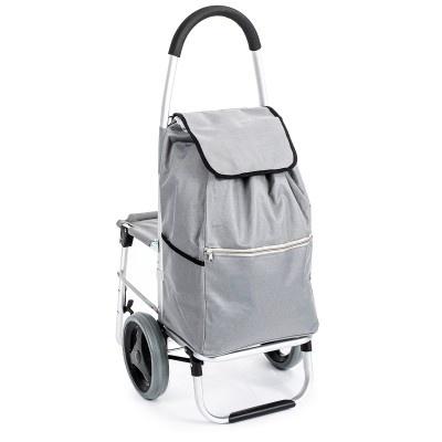 ALDOTRADE Nákupní taška na kolečkách se sedátkem Comfort - šedá