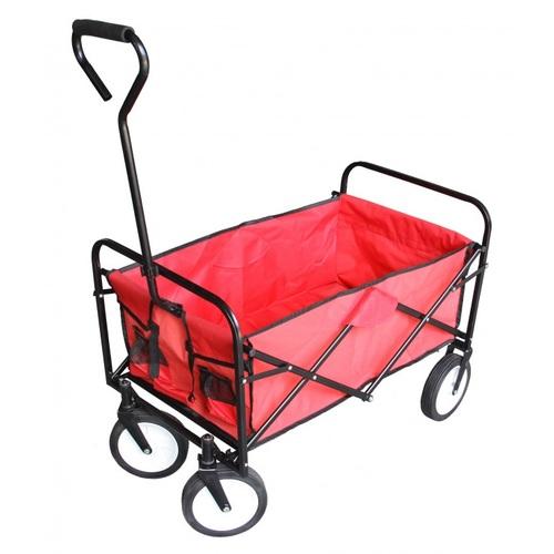 ALDOTRADE Skládací zahradní přepravní vozík červený
