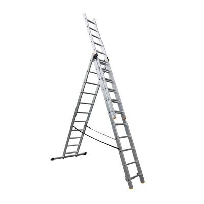 ALDOTRADE Hliníkový žebřík 3x11 příček PROFI třídílný