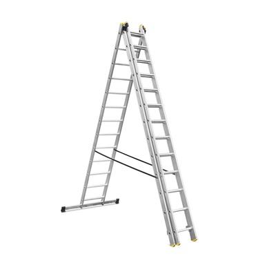 ALDOTRADE Hliníkový žebřík 3x13 příček PROFI třídílný